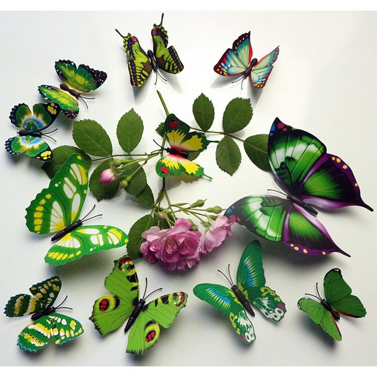 Bộ 12 bướm nam châm 3D (bướm cánh 1 tầng)