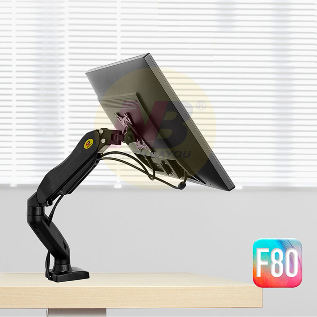 Giá treo màn hình máy tính gắn bàn NB F80 (17-27 inch) - Xoay 360 độ, mẫu mới tải trọng 9kg - Hàng nhập khẩu