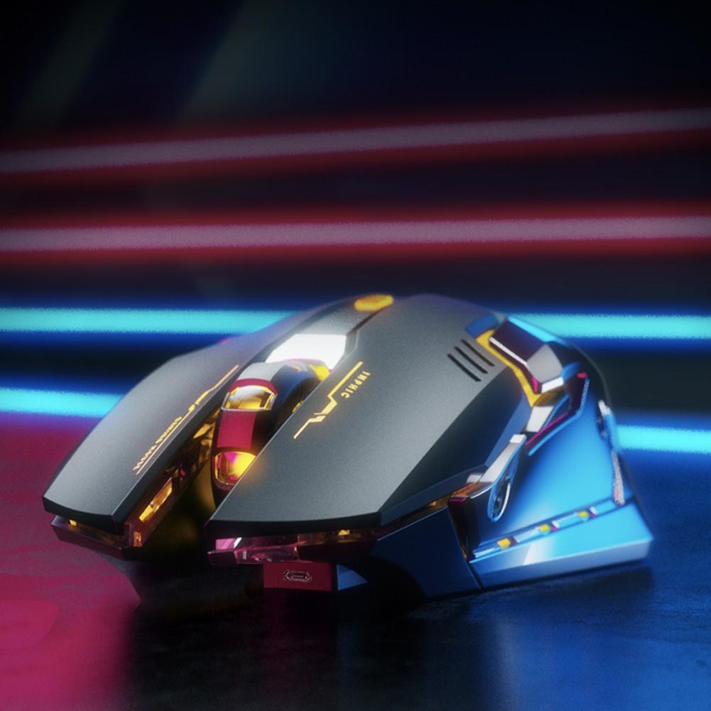 Chuột chơi game Wifi có LED RGB siêu đẹp Inphic M602 USB 2.4G 800-1600DPI 6 nút Pin sạc tiện dụng - Chính Hãng