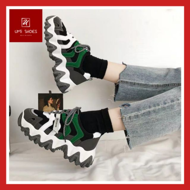 Giày thể thao nữ Ulzzang F.BONE đế cao răng cưa cá tính độc lạ mẫu mới hot trắng đen xanh phản quang phát sáng êm mềm