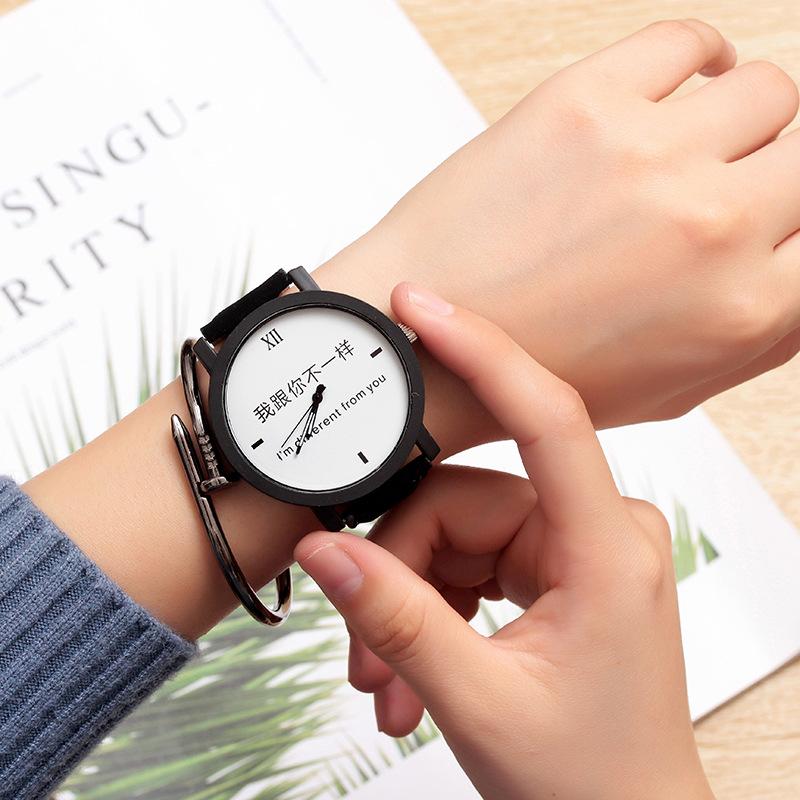 Korean Style Simple Couple Middle School Student Fashion Fashion Watch Men's, Black Retro Pointer Waterproof Leather Belt Women's Quartz Watch