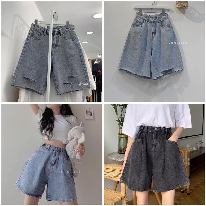 Quần Short Jeans Ngố Bò Nút Hông Ulzzang (2 Màu)