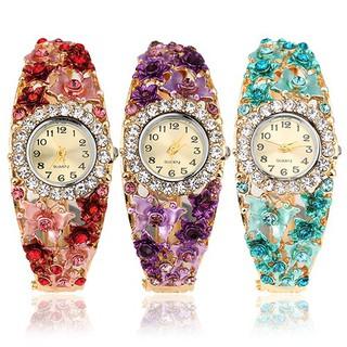 Đồng hồ đính đá hoa và bướm sang trọng cho nữ