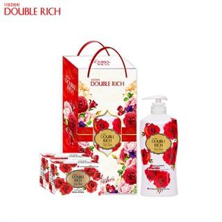 Bộ sữa tắm Double Rich hương hoa hồng tặng 2 xà bông cục 350ml