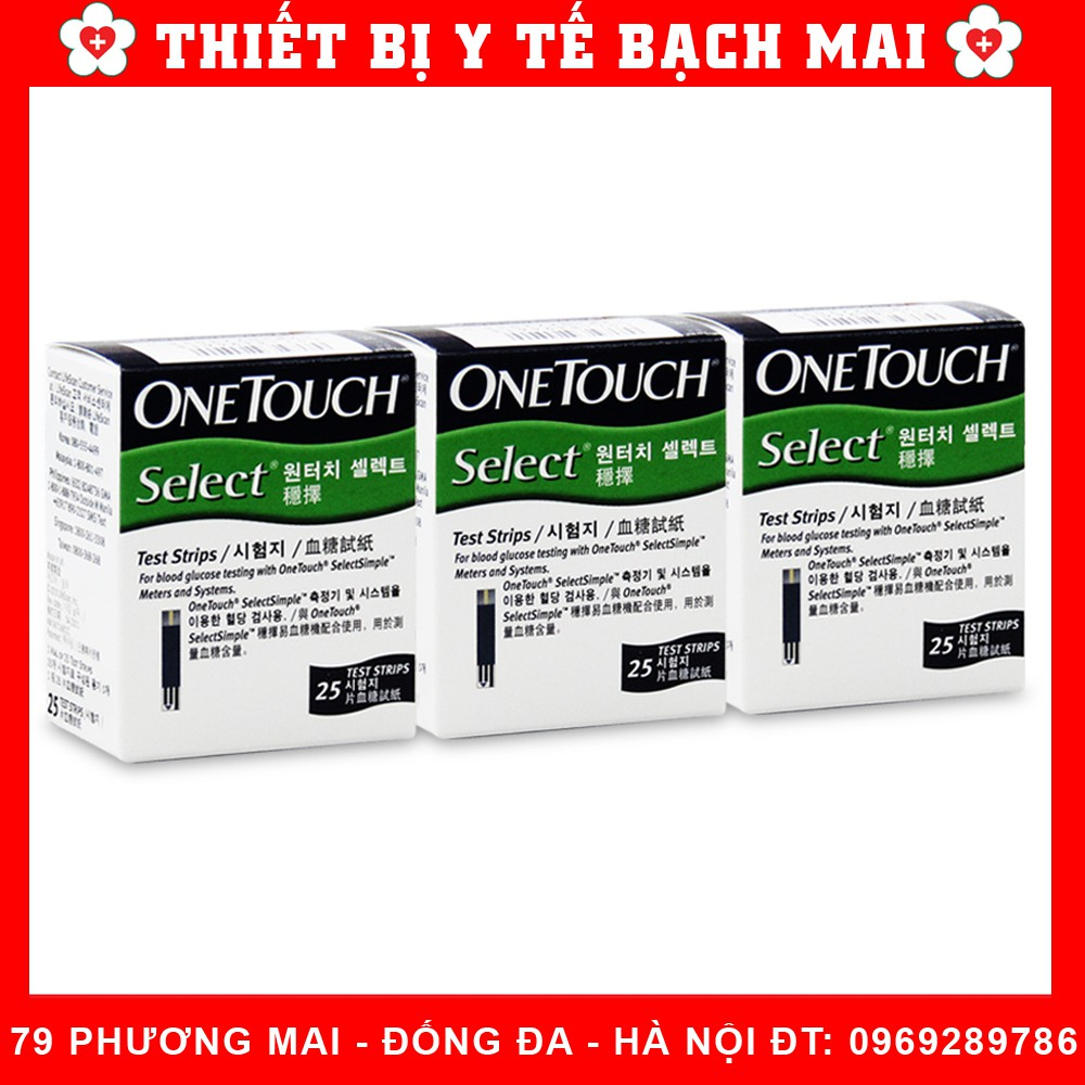 Que Thử Đường Huyết One Touch Select [Hộp 25 Que]