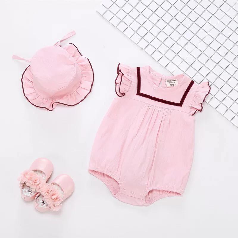 Set đồ bé gái - Body cotton điệu đà kèm mũ c