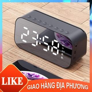 Loa Bluetooth Kiêm Đồng Hồ - Mặt Gương Hiển Thị Đèn Led - Đài FM - Đồng Hồ Báo Thức [YX100003]
