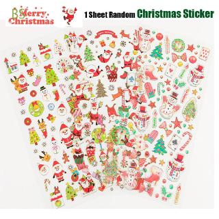 BS 1 Sheet Random Kids Toys Diary Scrapbooking Happy New Year Xmas Deco Merry Christmas Adhesive