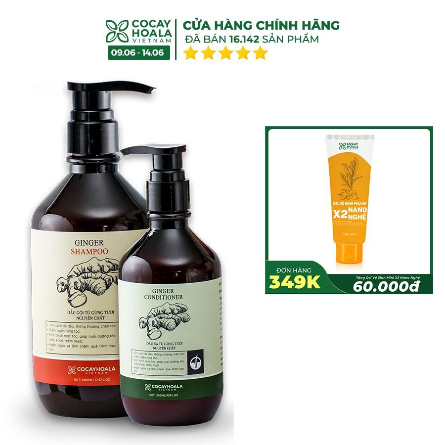Bộ dầu gội-xả gừng tươi Cocayhoala kích thích mọc tóc 500ml