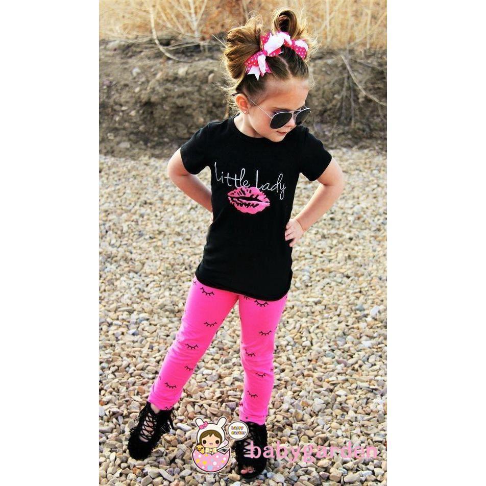 Bộ áo ngắn quần dài hoạ tiết cá tính cho bé gái
