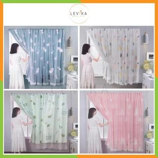 Rèm cửa dán tường chống nắng, rèm cửa dán trang trí cửa sổ – phòng khách dễ dàng lắp đặt không khoan đục Levika