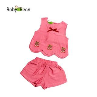 [MÃ THƯƠNG HIỆU YÊU THÍCH Voucher giảm 10%] Đồ Bộ Đũi Lai Lượn thêu Hoa bé gái BabyBean