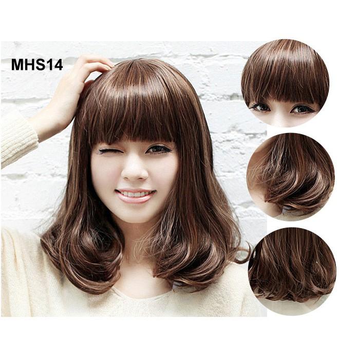 Bộ Tóc Ngang Vai Xoăn Nhẹ MHS14 (tặng trùm tóc)