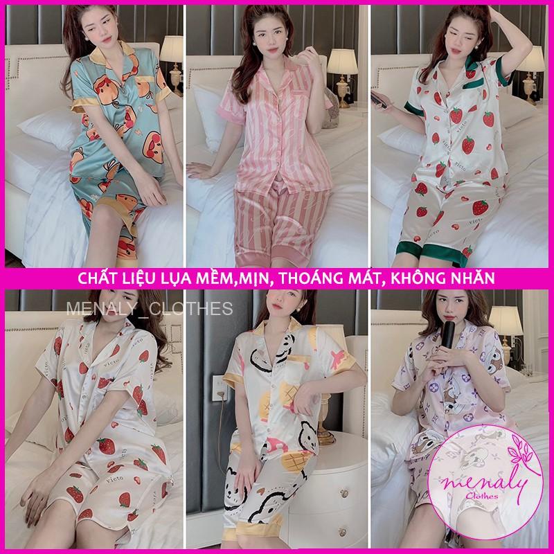 Mặc gì đẹp: Gọn tiện với Đồ bộ nữ Pijama quần lửng mùa hè cho nữ, mẫu đồ ngủ lụa cao cấp lụa thoáng mát, 40-65kg mặc ở nhà, đi dạo đều được-SCL02