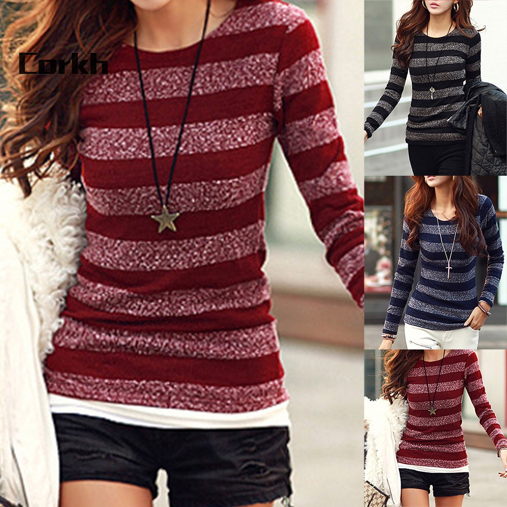 ●CO Women Fashion Striped Long Sleeve Round Neck Pullover Slim Fit Bottoming Top