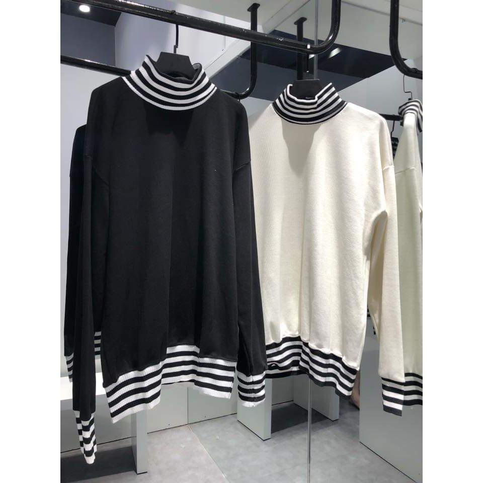 Áo Sweater Cổ Lọ Sọc Trắng Đen Unisex - Áo len cao cổ