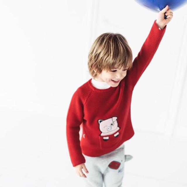 Áo len lợn đỏ Zara 2-6Y (có ảnh thật)