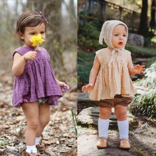 Mu♫-2PCS Toddler Baby Girls Clothes Sleeveless Outfits Set Sunsuit