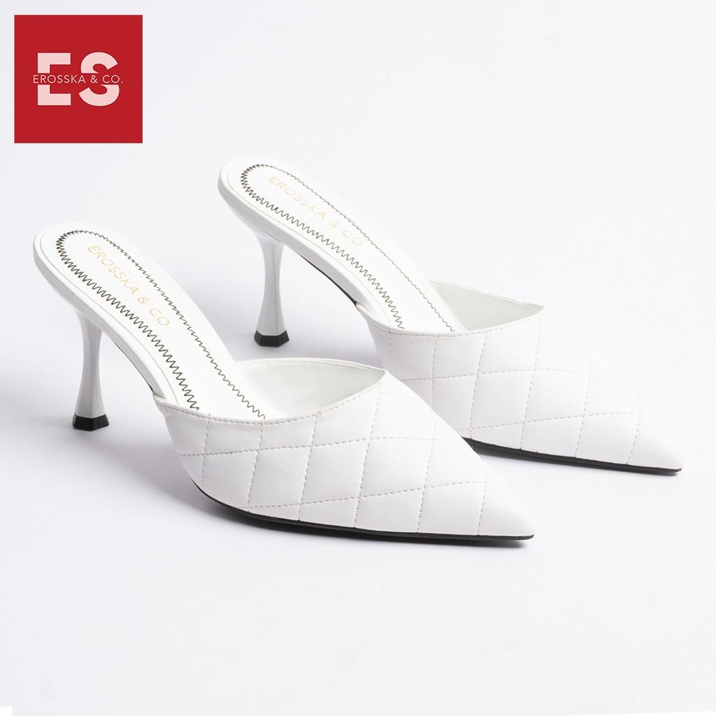 Dép cao gót Erosska thời trang mũi nhọn kiểu dáng thanh lịch cao 7cm màu trắng _ EM047