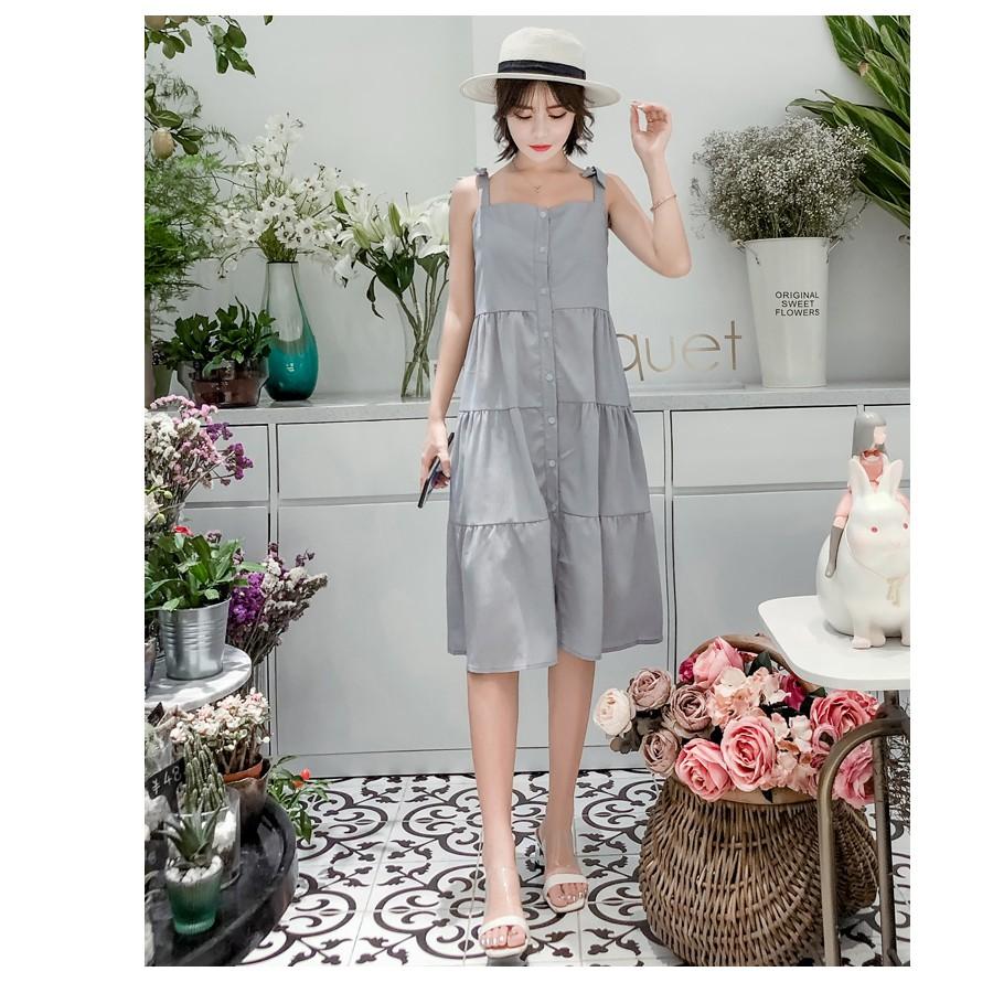 Đầm bầu , váy bầu không kèm khoác 2 dây hiện đại thích hợp cho dạo phố mặc nhà du lịch