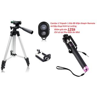 Combo 3 món chân đế chụp hình Tripod TF-3110+kẹp điện thoại+remote bluetooth tặng 1 Gậy tự sướng