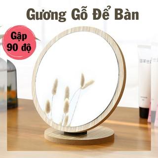 Gương Mini Để Bàn, Gương Trang Điểm Gỗ Gấp Gọn Để Bàn Trang Điểm