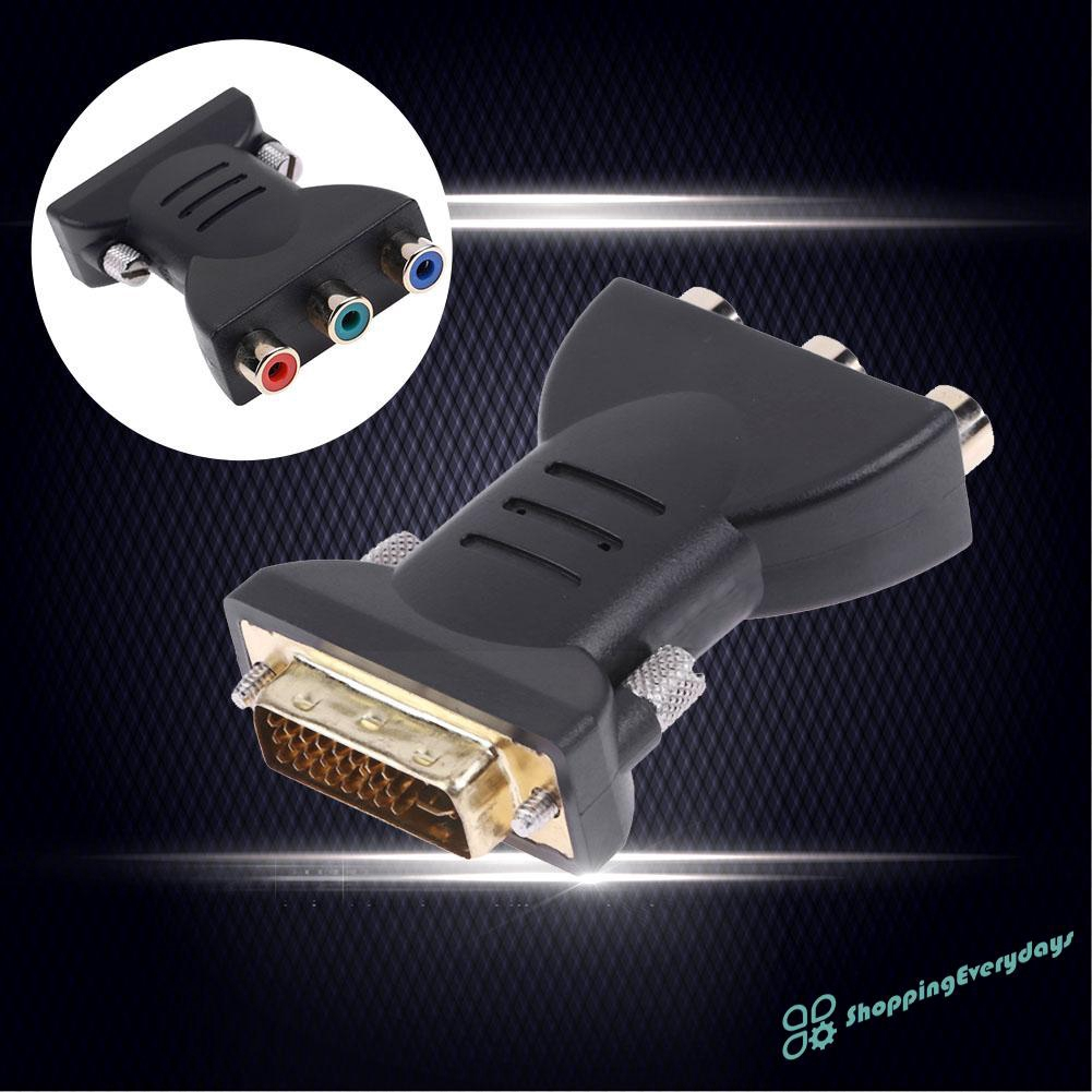 SV  24+5Pin DVI Male to 3 RCA Female Port A/V Converter Adapter Cable Connector ❤❤