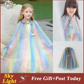 Áo choàng công chúa bằng lưới nhiều màu lấp lánh xinh xắn cho bé gái