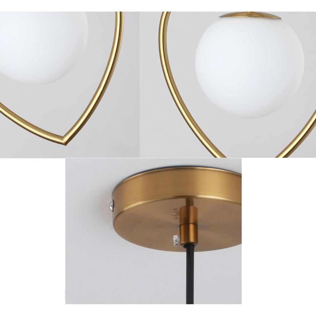 Đèn thả MONSKY CALER chao thủy tinh địa cầu, khung mạ vàng hình trái tim độc đáo - kèm bóng LED chuyên dụng (79).