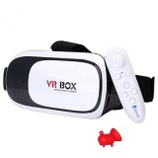 Kính thực tế ảo VR Box phiên bản 2 (Trắng) và tay cầm chơi game tặng 1 giá đỡ điện thoại hình con heo