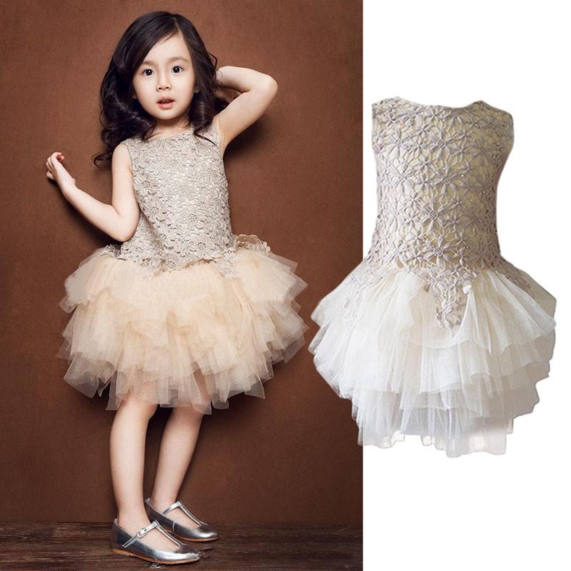 Đầm Xòe Tutu Phối Ren Hoa Phong Cách Công Chúa Cho Bé Gái