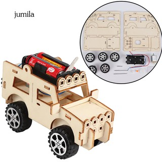 JL_DIY Wooden Electric Jeep Car Assembled Scientific Experiment Kids Education Toy
