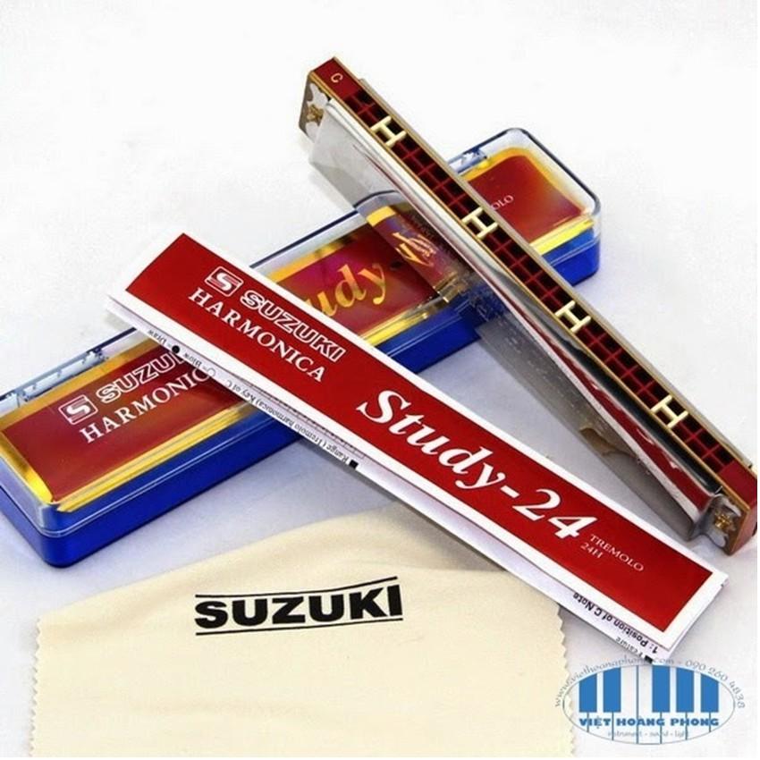 Kèn harmonica tremolo Suzuki Study 24 key C T39I5 Bạc)