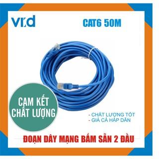 [Mã ELFLASH5 giảm 20K đơn 50K] Đoạn dây cáp mạng Cat6 50m (Xanh/Trắng) - Chính hãng