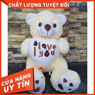 [ẢNH THẬT] Gấu bông teddy ôm tim cao 40cm vải nhung chất lượng VNXK