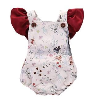 Bộ áo liền quần tay ngắn họa tiêt hoạt hình xinh xắn cho trẻ sơ sinh
