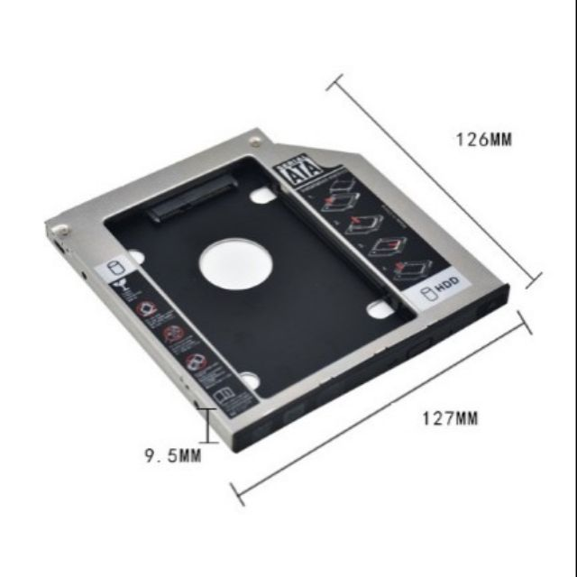 Caddy Bay HDD SSD SATA 3 9.5mm/12.7mm Thay ổ DVD