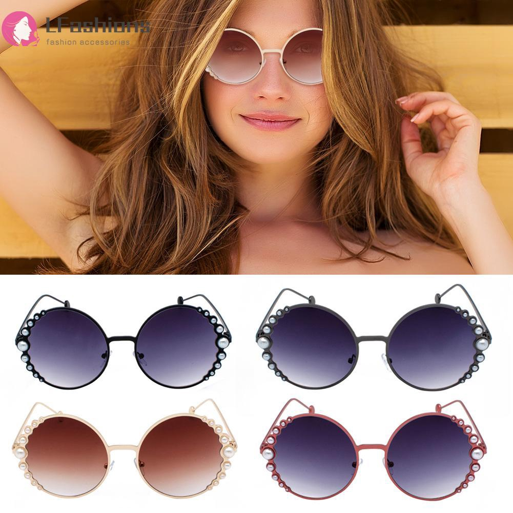 Fashion Vintage Women Round Frame Bead Sunglasses
