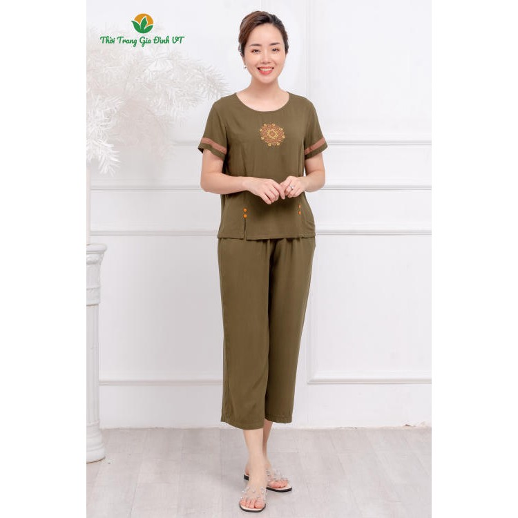 Bộ đồ lanh mặc nhà nữ quần dài, áo cộc tay B26.2102 trung niên - Thời Trang Gia Đình VT