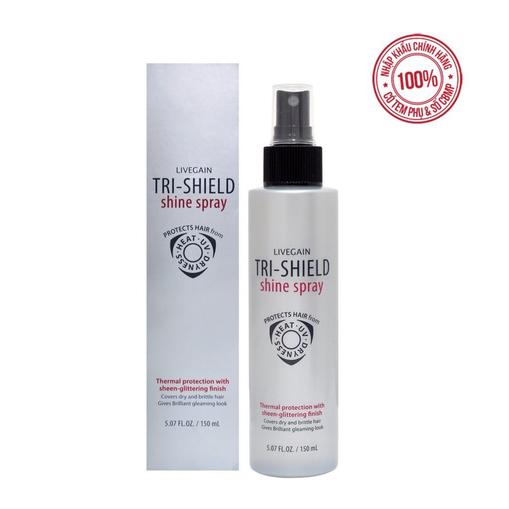 Xịt dưỡng bảo vệ tóc 3 tác dụng Livegain TRI-SHIELD Shine Spray 150ml Hàn Quốc