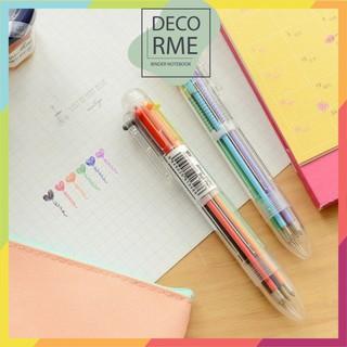 Bút bi bấm 6 màu phụ kiện văn phòng phẩm Decorme