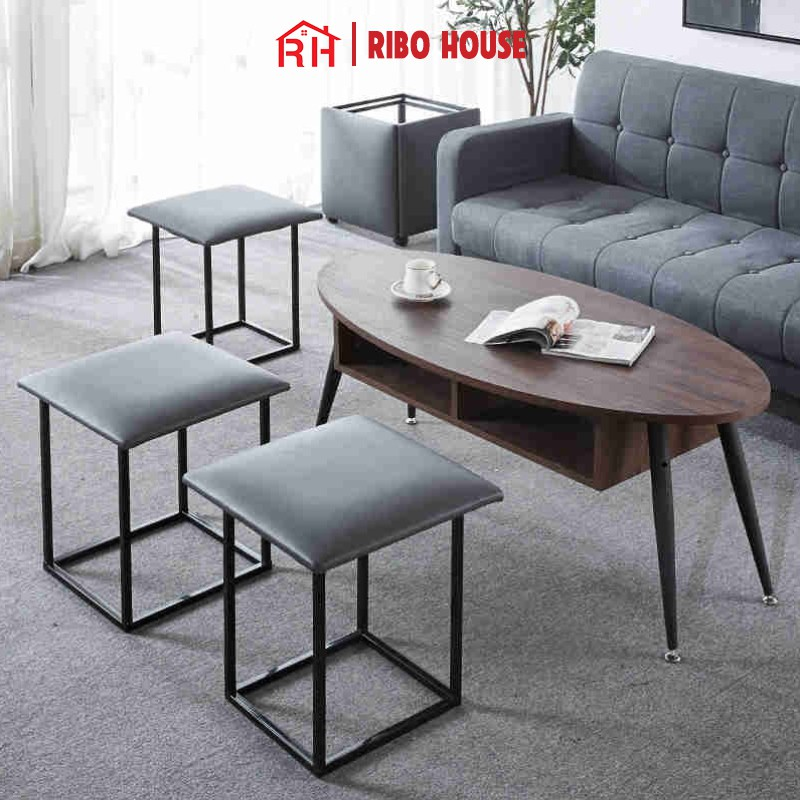 Bộ 5 ghế sofa đơn RIBO HOUSE khung kim loại sơn tĩnh điện trang trí phòng khách quán cà phê sân vườn đa năng RIBO172