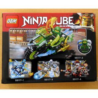 Bộ xếp hình Lego Ninja Cube 99117-1/2/3 gồm 112 chi tiết, đồ chơi sáng tạo dành cho bé