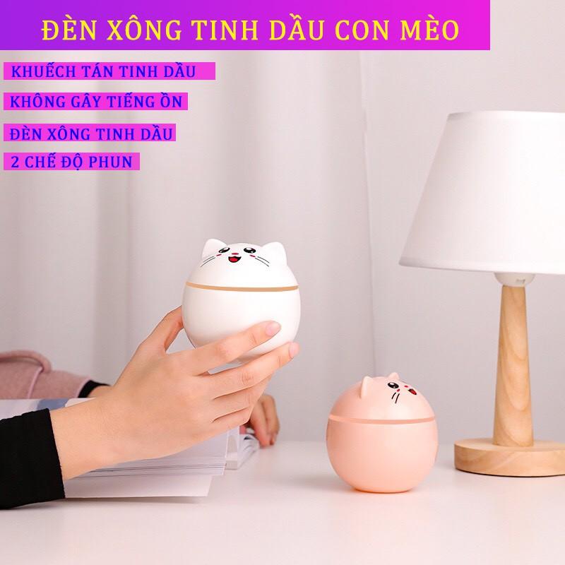Đèn Xông Tinh Dầu Mini, Máy Phun Sương Tạo Ẩm CON MÈO, Máy Xông Tinh Dầu - Tei Store