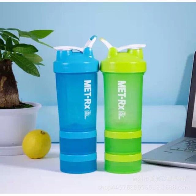 Bình Lắc Shaker Tập GYM 3 Ngăn 500ml Chế Sữa Protein - Đa Năng