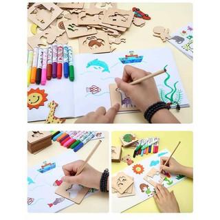 [XẢ HÀNG] bộ khuôn vẽ sáng tạo cho bé