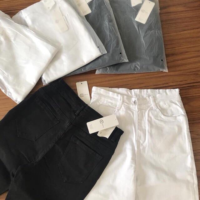 Quần Jeans Lửng Nữ Đen Trắng Co Giãn, Quần Ngố Jean Đùi Nữ Trơn Basic, Labibi Closet