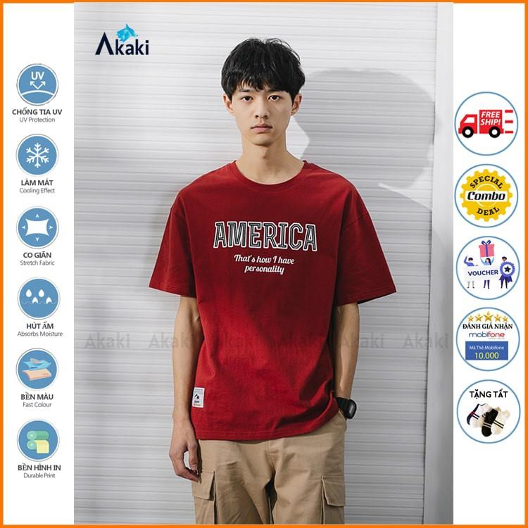 Áo thun nam tay ngắn form rộng unisex AKAKI Áo phông tay ngắn nam cổ tròn thun COTTON phối chữ America Tặng Tất khử mùi