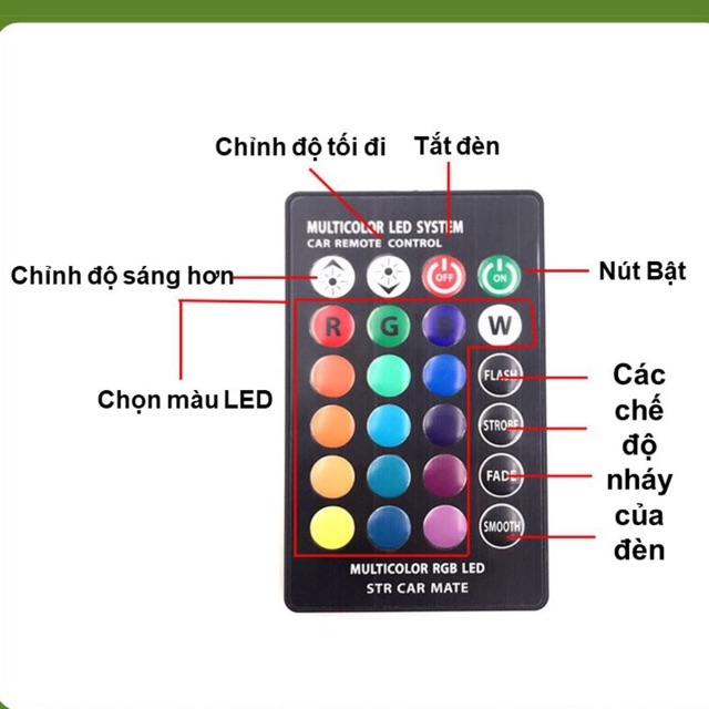 Bộ đèn led xi nhan demi chân T10 điều khiển đổi màu (BH 3 tháng)