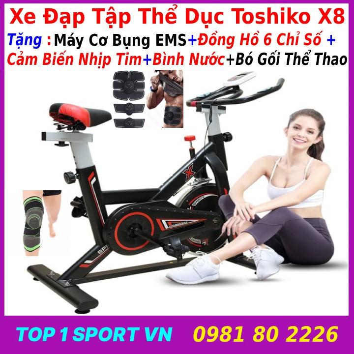 Xe đạp tập thể dục thể thao Toshiko X8 đa năng, tặng bình nước + đồng hồ NHỊP TIM + máy cơ bụng + bó gối, bảo hành 3 năm